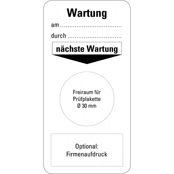 Grundplaketten - Wartung - am___ - 40x80 mm